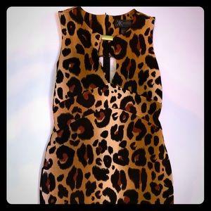 Kardashian Kollection leopard print keyhole dress.